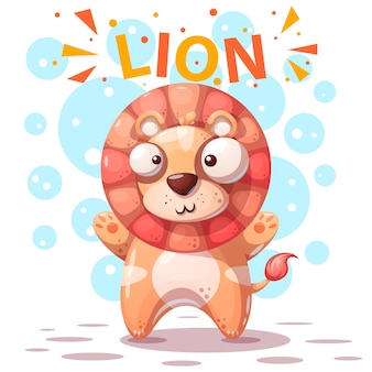Cute lion character - cartoon illustration.