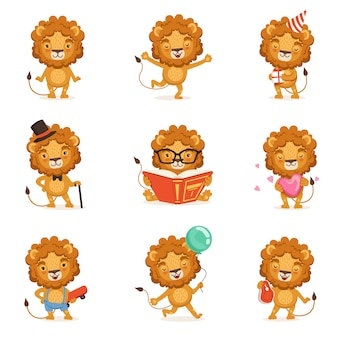 Cute lion character character doing different activities colorful  illustrations on a white background