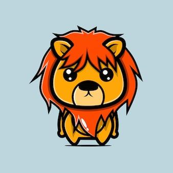 Симпатичный лев в стиле чиби