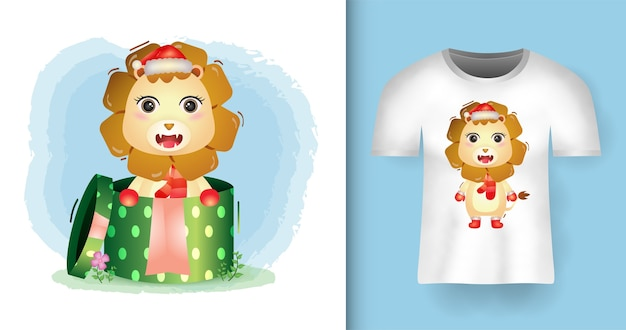 티셔츠 디자인의 선물 상자에 산타 모자와 스카프를 사용하는 귀여운 사자 크리스마스 캐릭터