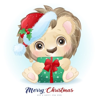 Cute  lion for christmas day with watercolor illustration