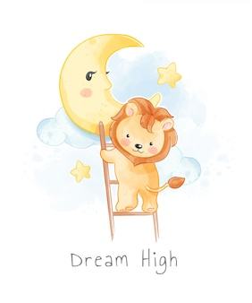 Cute lion climbing ladder to the moon illustration