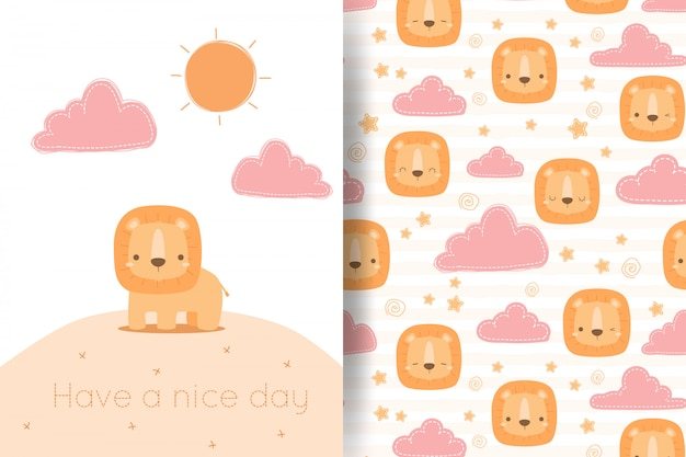 Cute lion and cloud cartoon doodle seamless pattern greeting card