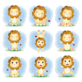 어린이 스타일의 귀여운 사자 컬렉션
