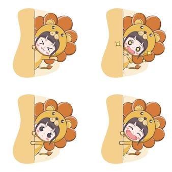 Cute lion costume girl hiding cartoon illustration
