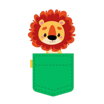 Cute lion cub in a green pocket of jeans or baby clothes the animal looks out of the bag