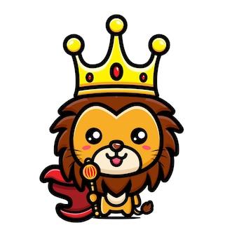 왕의 왕관을 쓰고 귀여운 사자 디자인