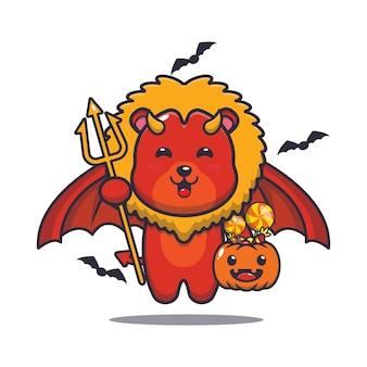Милый лев дьявол с тыквой на хэллоуин милая иллюстрация мультфильма на хэллоуин