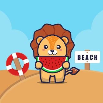 かわいいライオンがビーチでスイカを食べる漫画イラスト