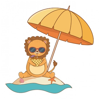 Cute lion enjoying summer time cartoon