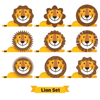 かわいいライオンの顔のさまざまなヘアスタイル