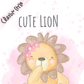 Cute lion flowers  crayon style illustration for kids
