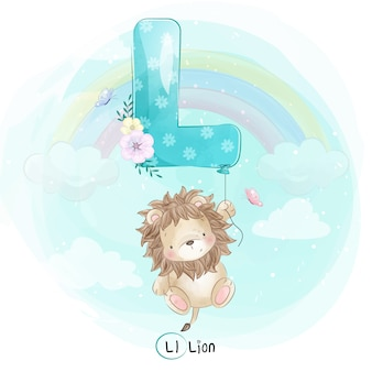 Cute lion flying with alphabet-l balloon