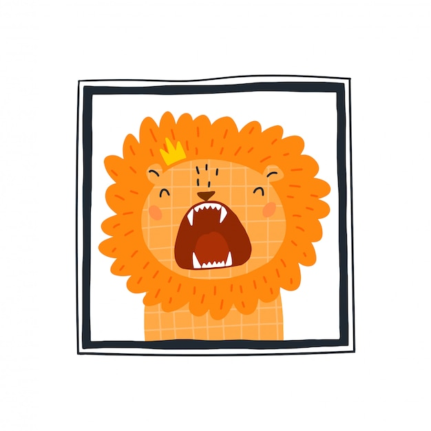 Cute lion in the frame