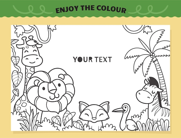 Cute lion and friends in the jungle coloring for kids