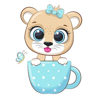 A cute lion girl is sitting in a cup and smiling. vector illustration of a cartoon.