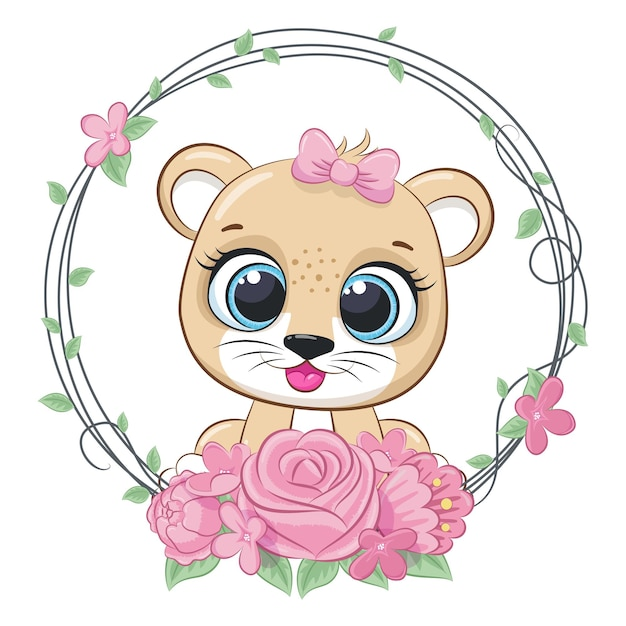 Cute lion girl with flowers and a wreath. vector illustration of a cartoon.