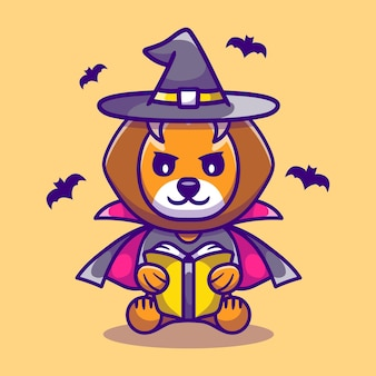 Cute lion halloween witch reading a book