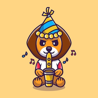Cute lion happy new year with trumpet and hat