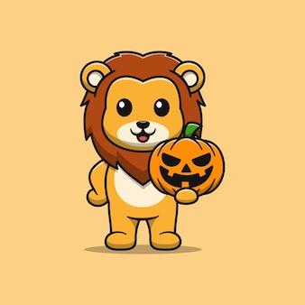 Милый лев держит тыкву иллюстрации шаржа