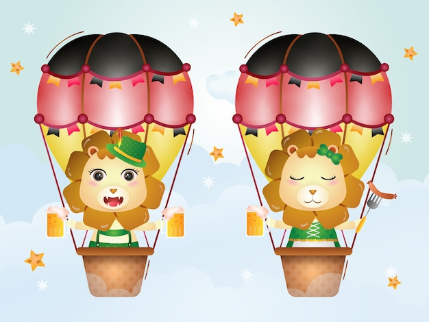 Cute lion on hot air balloon with traditional oktoberfest dress