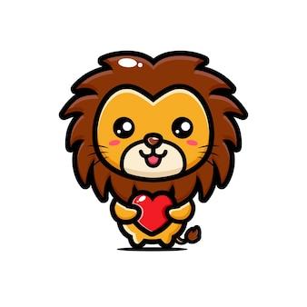 사랑의 마음을 안고있는 귀여운 사자
