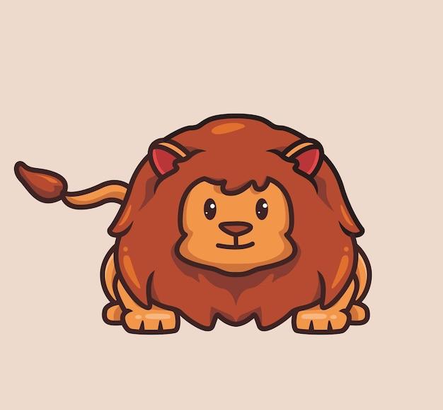 かわいいライオンハンター。漫画の動物の性質の概念孤立したイラスト。ステッカーアイコンデザインプレミアムロゴベクトルに適したフラットスタイル。マスコットキャラクター