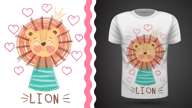 Cute lion - idea for print t-shirt