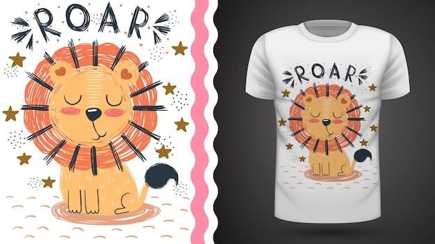 Cute lion, idea for print t-shirt