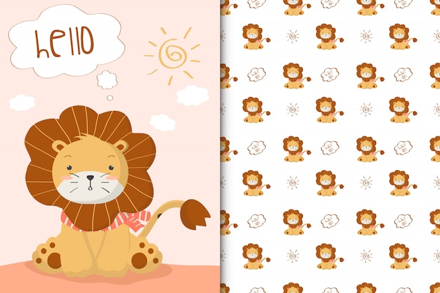 Cute lion illustration and seamless pattern