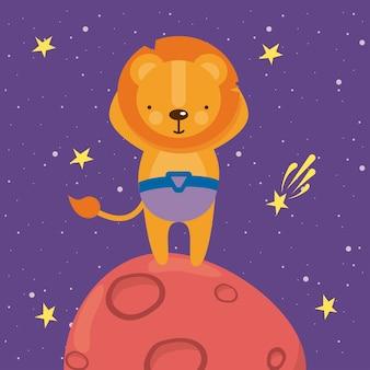 우주 행성에서 귀여운 사자
