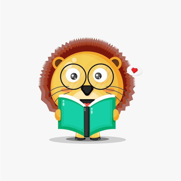 Cute lion is reading a book isolated on white