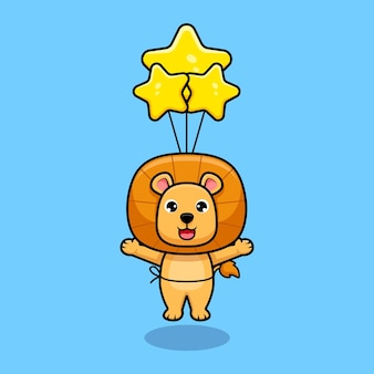 Cute lion king floating to the sky with balloon design icon illustration