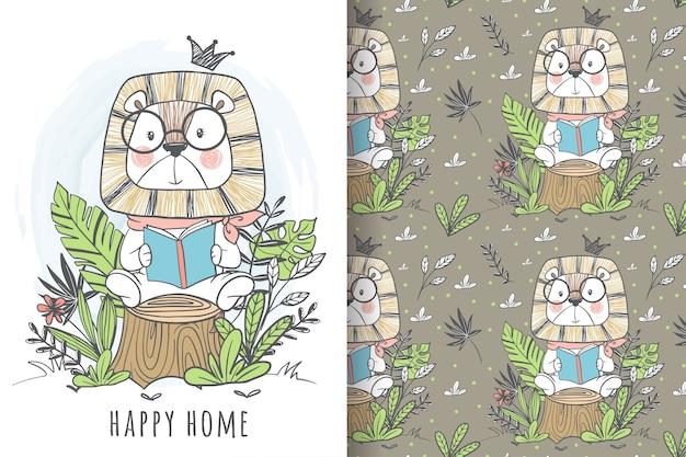 ジャングルのシームレスなパターンで本を読んでかわいいライオンキング