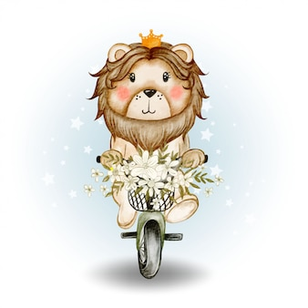 Cute lion king riding a bicycle watercolor illustration
