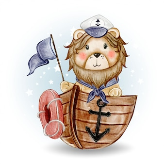 Cute lion king sailor boarded the ship watercolor illustration