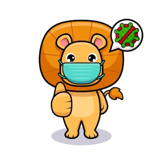 Милый король лев в маске для предотвращения вирусов дизайн значка иллюстрации