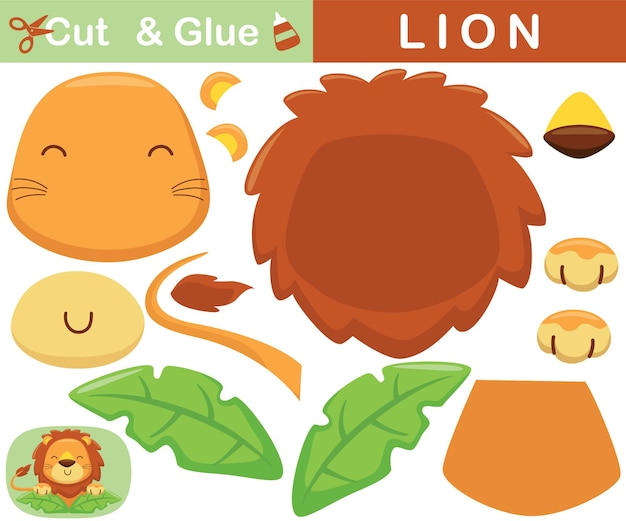 Cute lion in leaves. education paper game for children. cutout and gluing.   cartoon illustration