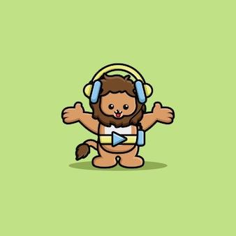 헤드폰 만화 캐릭터와 함께 음악을 듣는 귀여운 사자