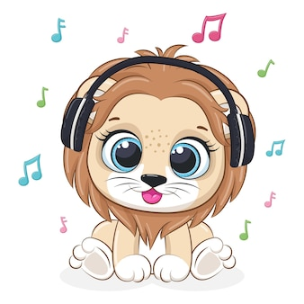 Cute lion listens to music with headphones. vector illustration of a cartoon.