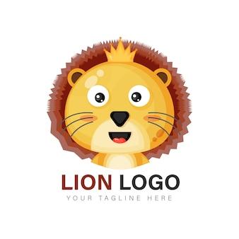 Симпатичный дизайн логотипа льва
