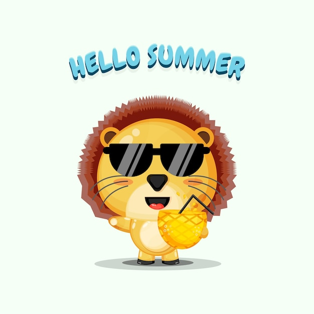 夏の挨拶とパイナップルジュースを運ぶかわいいライオンのマスコット
