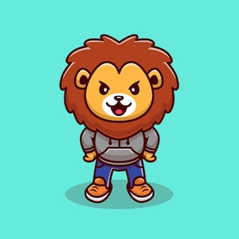 Cute lion mascot cartoon illustration. animal wildlife icon concept