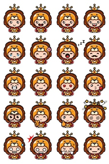 귀여운 사자 마스코트 세트 디자인