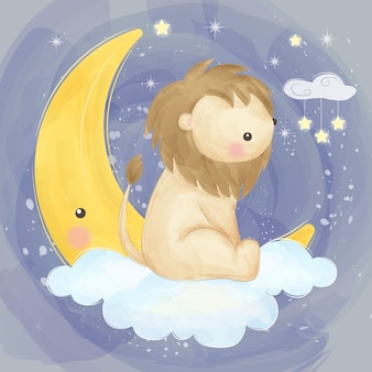 Cute lion and the moon