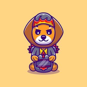 Cute lion motorcycle gang member