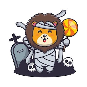 Милая мумия льва держит конфету милая иллюстрация шаржа хэллоуина