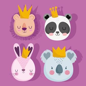 Cute lion panda rabbit and koala with crowns animals faces cartoon set