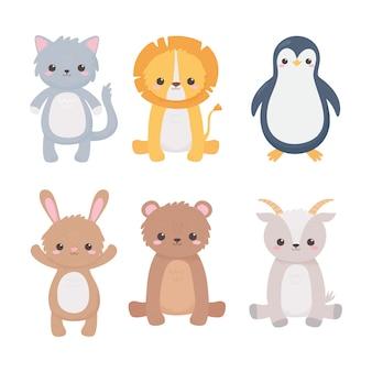 Cute lion penguin cat bear rabbit goat funny cartoon animals vector illustration