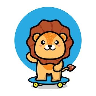 Cute lion play skateboard cartoon illustration